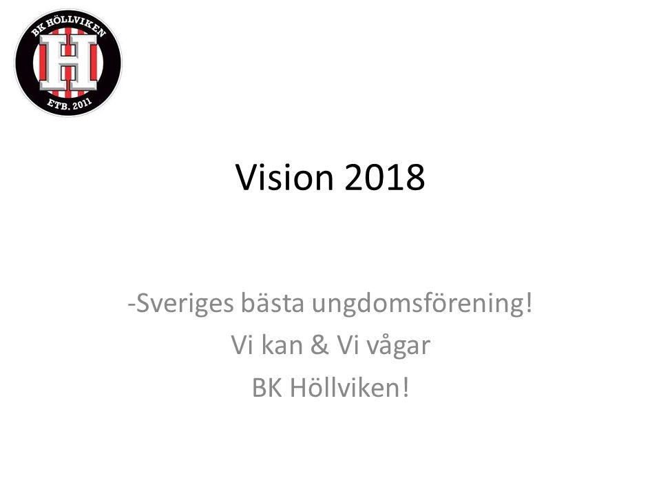 Vision 2018 -Sveriges bästa ungdomsförening! Vi kan & Vi vågar BK Höllviken!