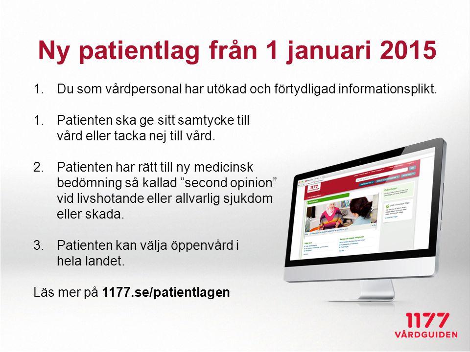 Ny patientlag från 1 januari 2015 1.Du som vårdpersonal har utökad och förtydligad informationsplikt. 1.Patienten ska ge sitt samtycke till vård eller