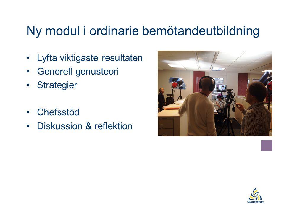 Ny modul i ordinarie bemötandeutbildning Lyfta viktigaste resultaten Generell genusteori Strategier Chefsstöd Diskussion & reflektion