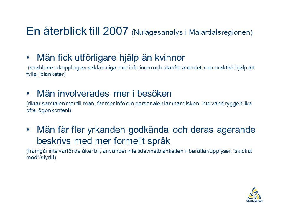 En återblick till 2007 (Nulägesanalys i Mälardalsregionen) Män fick utförligare hjälp än kvinnor (snabbare inkoppling av sakkunniga, mer info inom och