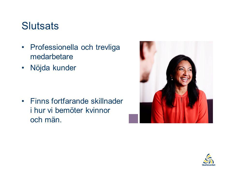 Slutsats Professionella och trevliga medarbetare Nöjda kunder Finns fortfarande skillnader i hur vi bemöter kvinnor och män.