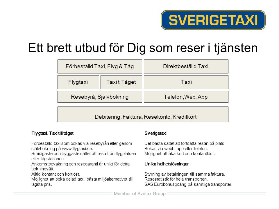 Sverigetaxikonto Nu kan ni resa kontantlöst på ett 70 tal orter i Sverige.