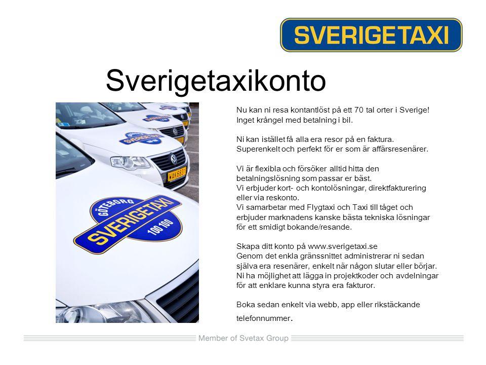 Sverigetaxikonto Nu kan ni resa kontantlöst på ett 70 tal orter i Sverige! Inget krångel med betalning i bil. Ni kan istället få alla era resor på en