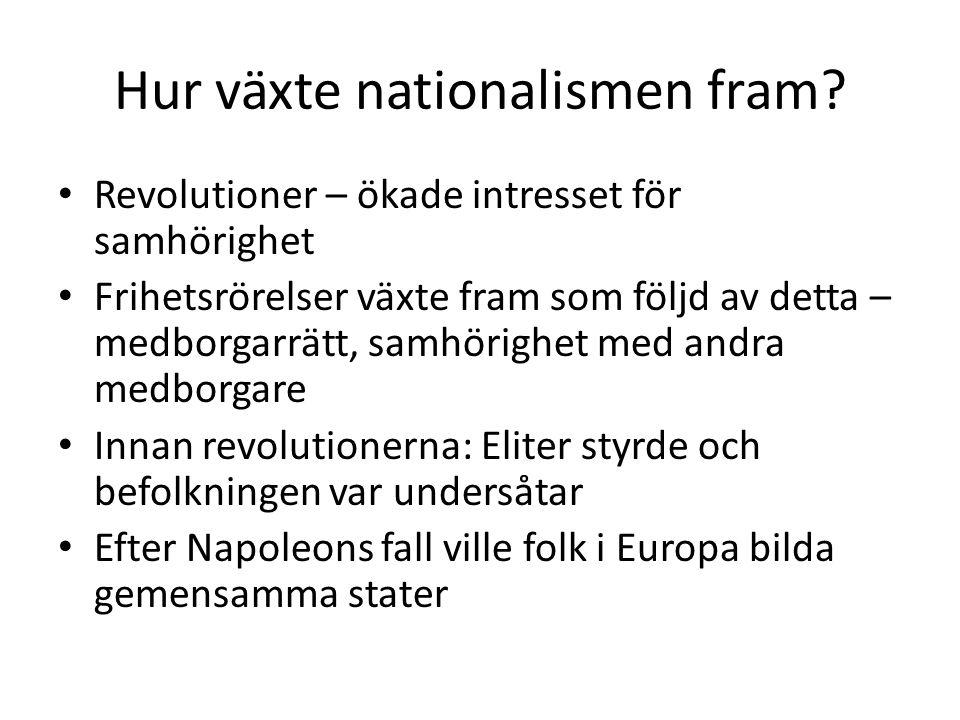 Hur växte nationalismen fram? Revolutioner – ökade intresset för samhörighet Frihetsrörelser växte fram som följd av detta – medborgarrätt, samhörighe