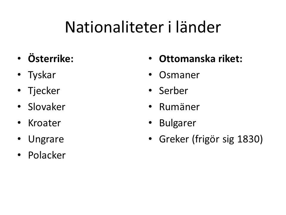 Nationaliteter i länder Österrike: Tyskar Tjecker Slovaker Kroater Ungrare Polacker Ottomanska riket: Osmaner Serber Rumäner Bulgarer Greker (frigör s