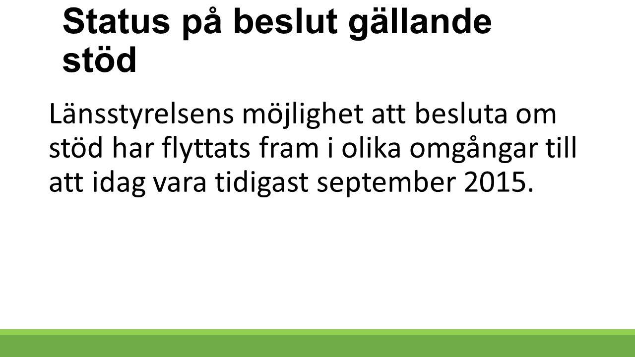 Status på beslut gällande stöd Länsstyrelsens möjlighet att besluta om stöd har flyttats fram i olika omgångar till att idag vara tidigast september 2015.
