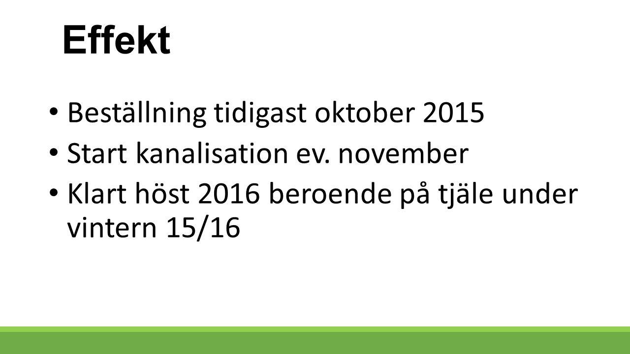 Effekt Beställning tidigast oktober 2015 Start kanalisation ev.
