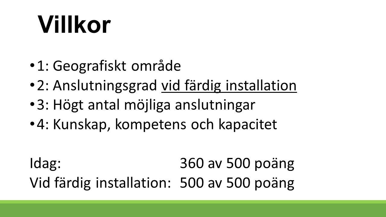 Villkor 1: Geografiskt område 2: Anslutningsgrad vid färdig installation 3: Högt antal möjliga anslutningar 4: Kunskap, kompetens och kapacitet Idag: 360 av 500 poäng Vid färdig installation:500 av 500 poäng