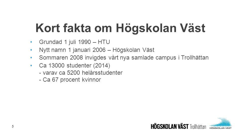 Grundad 1 juli 1990 – HTU Nytt namn 1 januari 2006 – Högskolan Väst Sommaren 2008 invigdes vårt nya samlade campus i Trollhättan Ca 13000 studenter (2014) - varav ca 5200 helårsstudenter - Ca 67 procent kvinnor Kort fakta om Högskolan Väst 5