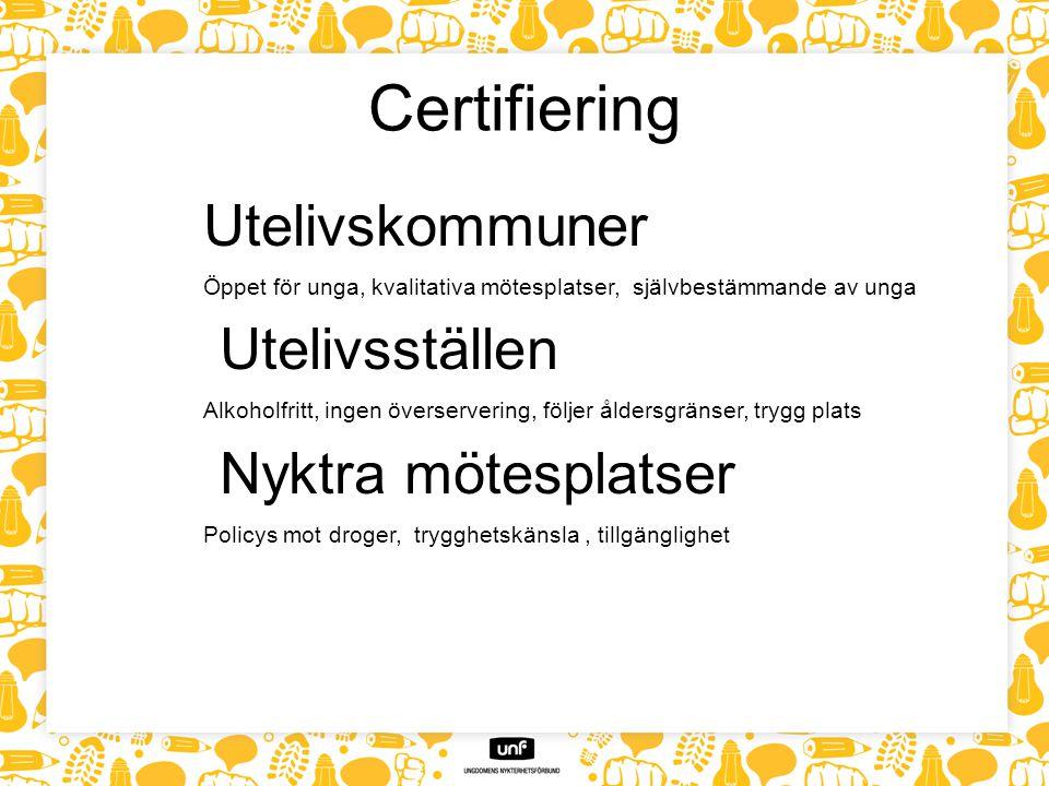 Certifiering Utelivskommuner Öppet för unga, kvalitativa mötesplatser, självbestämmande av unga Utelivsställen Alkoholfritt, ingen överservering, följ