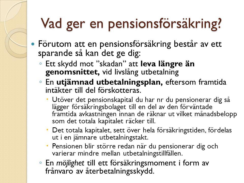 """Vad ger en pensionsförsäkring? Förutom att en pensionsförsäkring består av ett sparande så kan det ge dig: ◦ Ett skydd mot """"skadan"""" att leva längre än"""