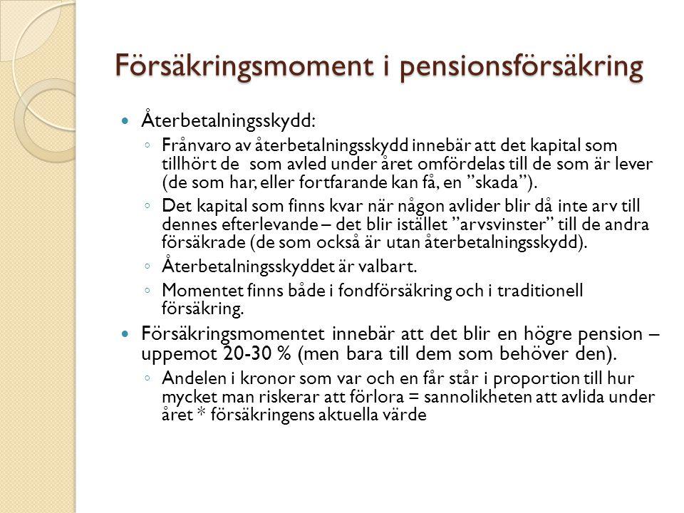 Försäkringsmoment i pensionsförsäkring Återbetalningsskydd: ◦ Frånvaro av återbetalningsskydd innebär att det kapital som tillhört de som avled under