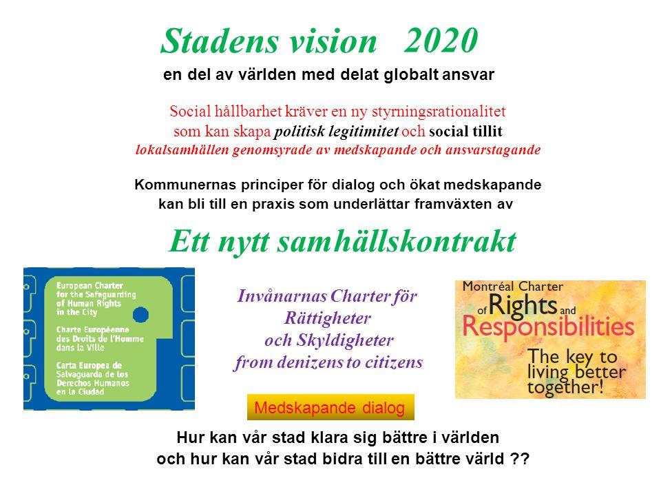 Invånarnas Charter för Rättigheter och Skyldigheter from denizens to citizens Social hållbarhet kräver en ny styrningsrationalitet som kan skapa politisk legitimitet och social tillit lokalsamhällen genomsyrade av medskapande och ansvarstagande Ett nytt samhällskontrakt 2020 Kommunernas principer för dialog och ökat medskapande kan bli till en praxis som underlättar framväxten av en del av världen med delat globalt ansvar och hur kan vår stad bidra till en bättre värld ?.