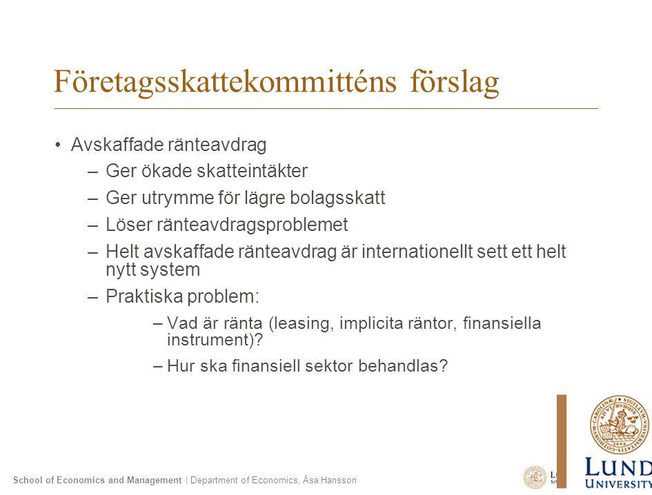 School of Economics and Management | Department of Economics, Åsa Hansson Företagsskattekommitténs förslag Avskaffade ränteavdrag –Ger ökade skatteint