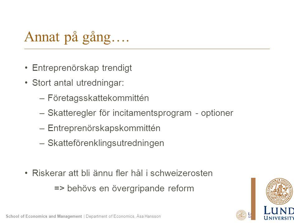 School of Economics and Management | Department of Economics, Åsa Hansson Annat på gång…. Entreprenörskap trendigt Stort antal utredningar: –Företagss