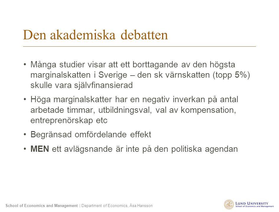 School of Economics and Management | Department of Economics, Åsa Hansson Den akademiska debatten Många studier visar att ett borttagande av den högst