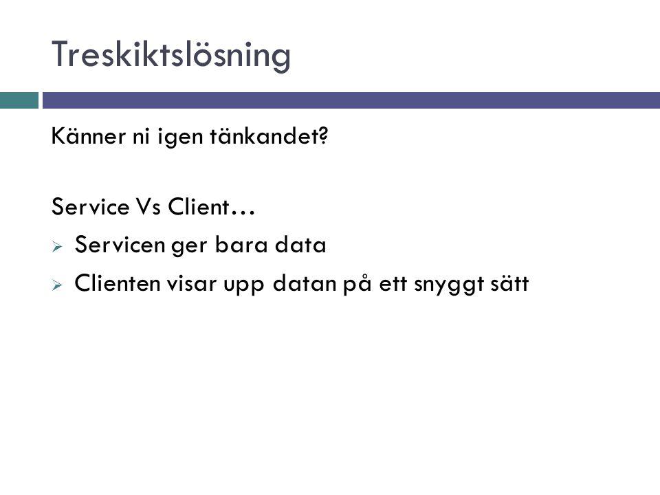 Treskiktslösning Känner ni igen tänkandet? Service Vs Client…  Servicen ger bara data  Clienten visar upp datan på ett snyggt sätt