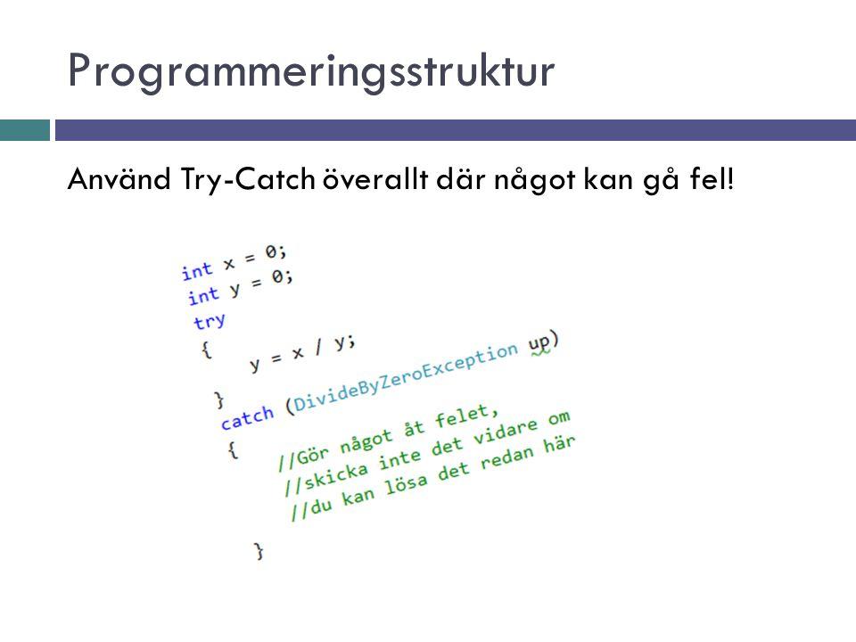 Programmeringsstruktur All kod som upprepas ska helst ske i en metod