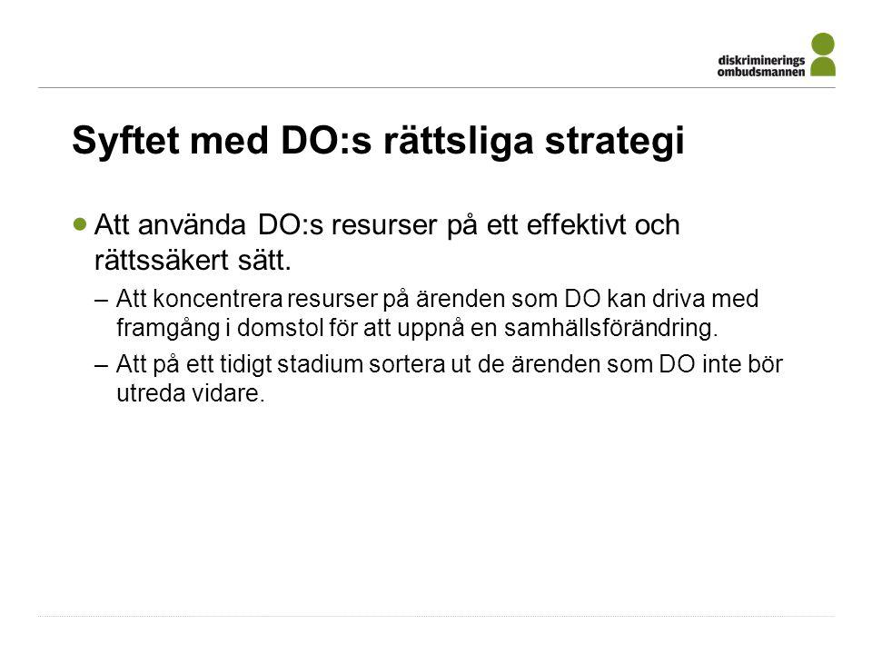 Syftet med DO:s rättsliga strategi  Att använda DO:s resurser på ett effektivt och rättssäkert sätt.