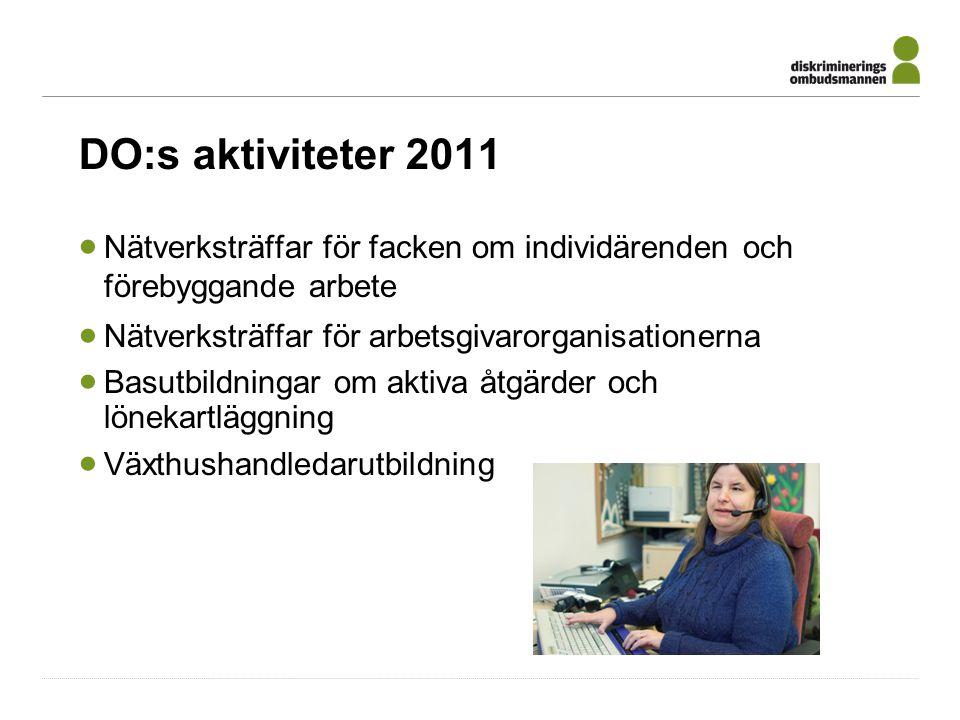 DO:s aktiviteter 2011  Nätverksträffar för facken om individärenden och förebyggande arbete  Nätverksträffar för arbetsgivarorganisationerna  Basutbildningar om aktiva åtgärder och lönekartläggning  Växthushandledarutbildning