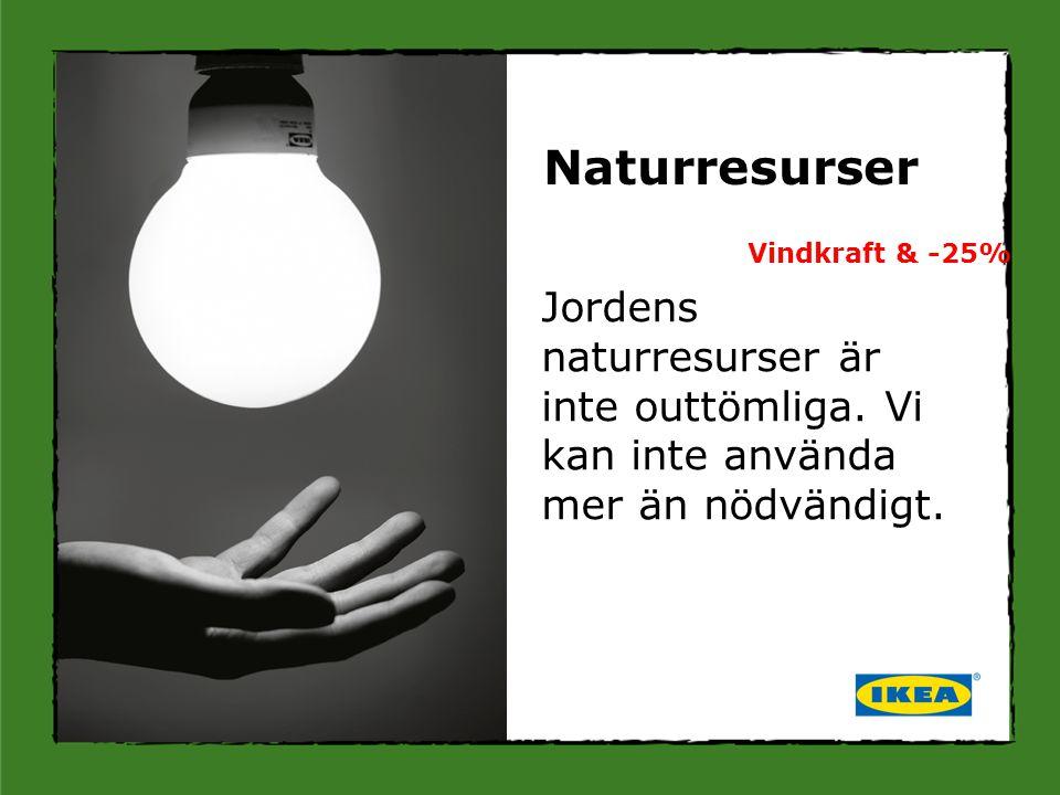 Jordens naturresurser är inte outtömliga. Vi kan inte använda mer än nödvändigt. Naturresurser Vindkraft & -25%