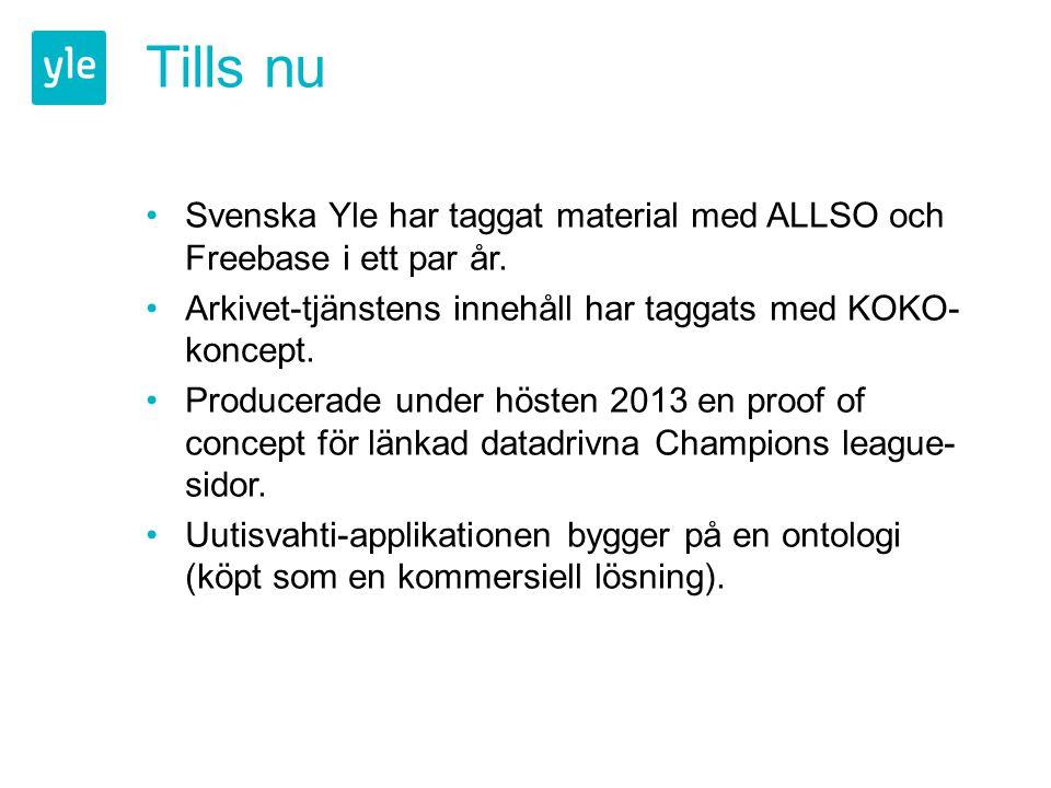 Tills nu Svenska Yle har taggat material med ALLSO och Freebase i ett par år. Arkivet-tjänstens innehåll har taggats med KOKO- koncept. Producerade un