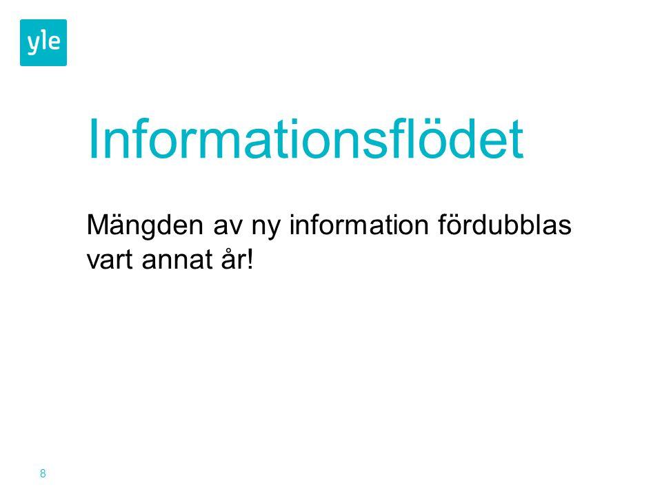 8 Informationsflödet Mängden av ny information fördubblas vart annat år!