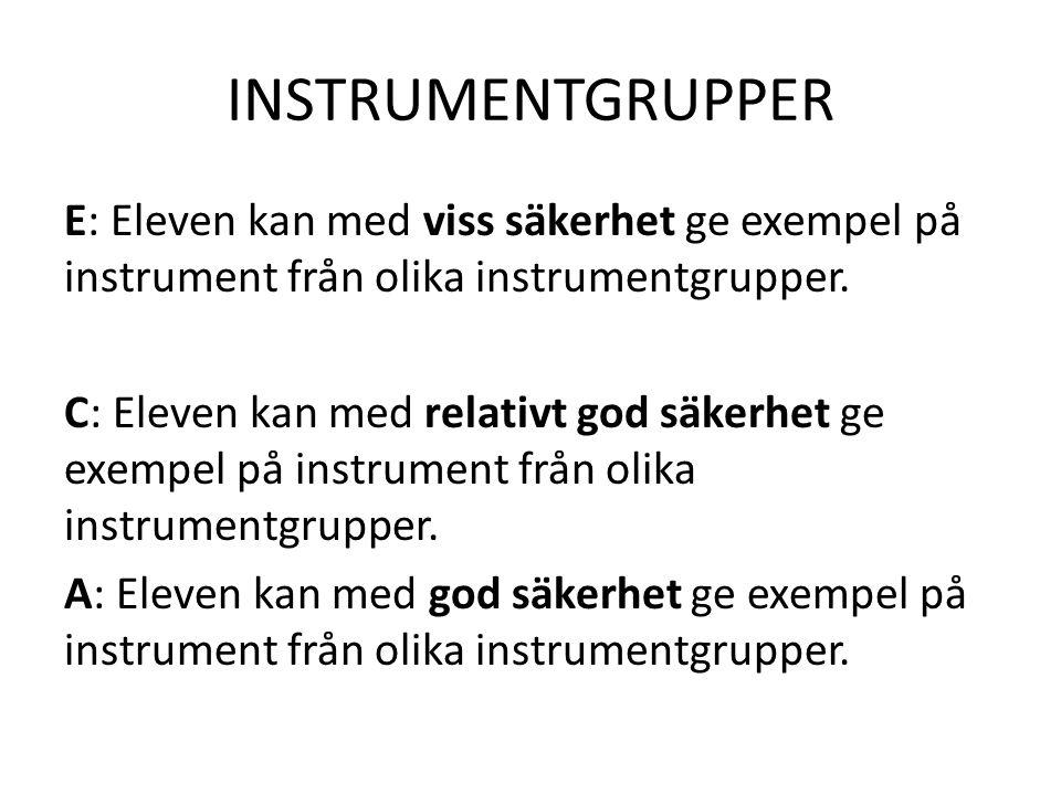 INSTRUMENTGRUPPER E: Eleven kan med viss säkerhet ge exempel på instrument från olika instrumentgrupper. C: Eleven kan med relativt god säkerhet ge ex