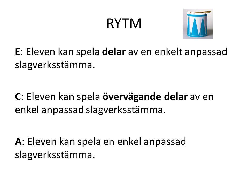 RYTM E: Eleven kan spela delar av en enkelt anpassad slagverksstämma. C: Eleven kan spela övervägande delar av en enkel anpassad slagverksstämma. A: E