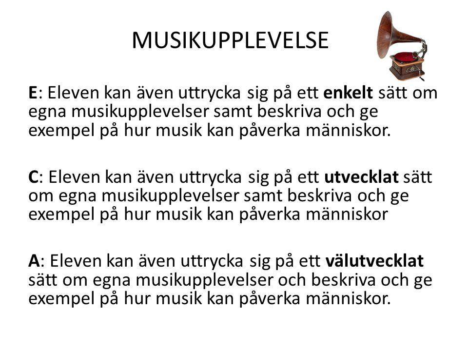 MUSIKUPPLEVELSE E: Eleven kan även uttrycka sig på ett enkelt sätt om egna musikupplevelser samt beskriva och ge exempel på hur musik kan påverka männ
