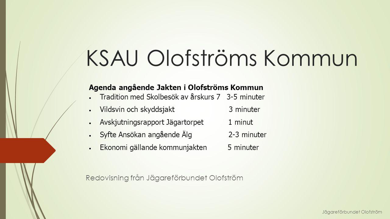 KSAU Olofströms Kommun Redovisning från Jägareförbundet Olofström Jägareförbundet Olofström Agenda angående Jakten i Olofströms Kommun  Tradition med