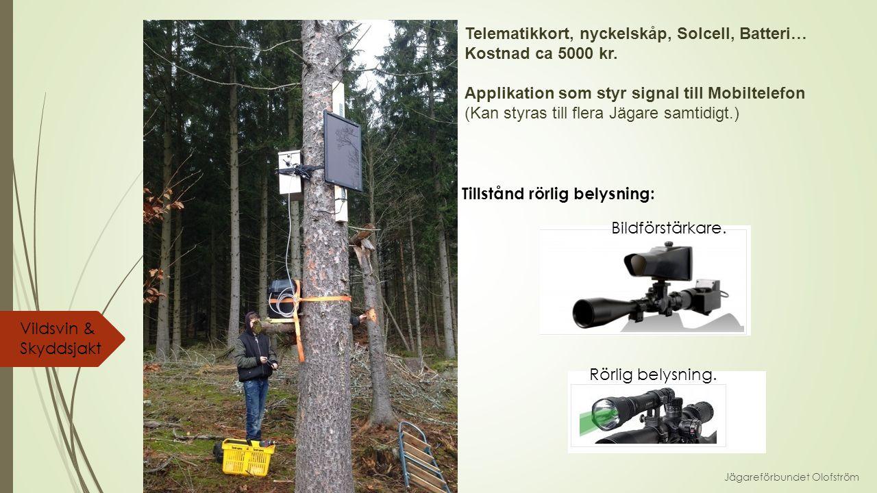 Jägareförbundet Olofström Vildsvin & Skyddsjakt Telematikkort, nyckelskåp, Solcell, Batteri… Kostnad ca 5000 kr.