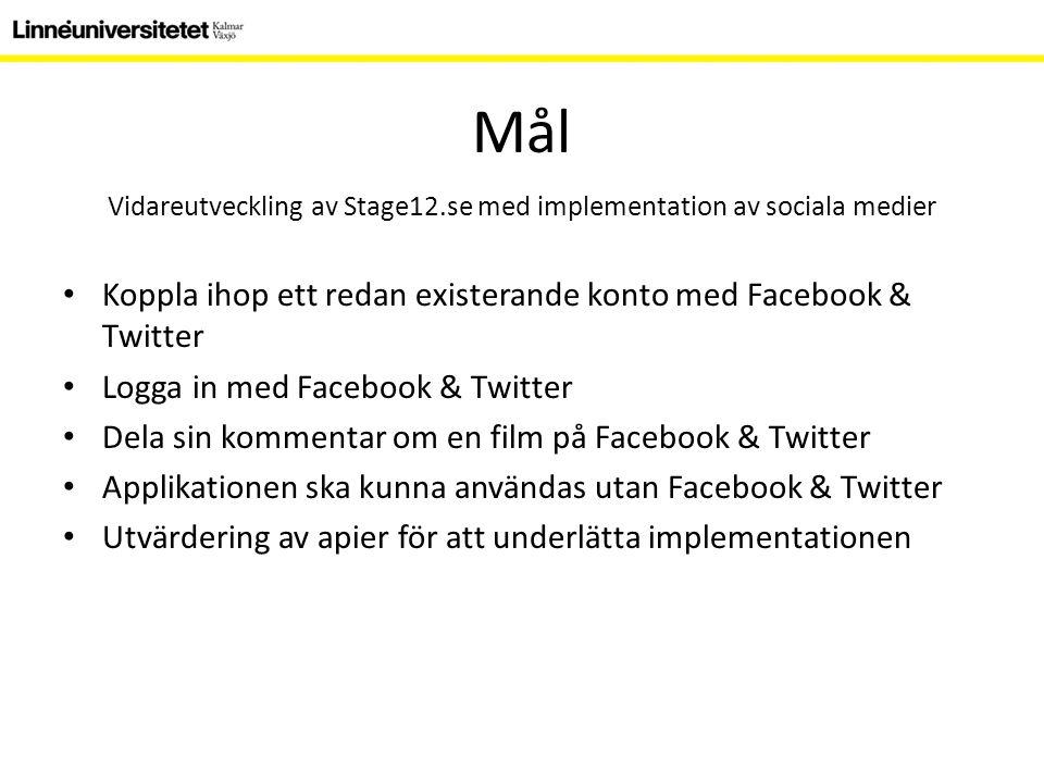 Metod Stage12.se experimentmiljö Apier – Facebook – Twitter Iterativt arbete Tekniker – XHTML & CSS – MySQL – PHP Facebook PHP SDK (Software Development Kit) Twitter PHP Class – JavaScript JQuery Facebook JavaScript SDK