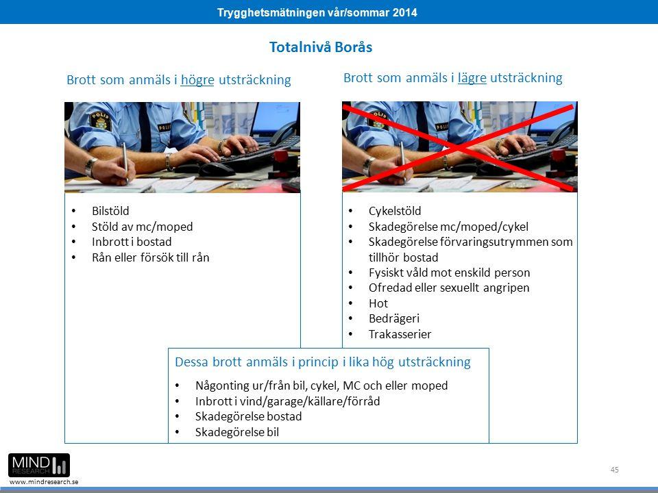 Trygghetsmätningen vår/sommar 2014 www.mindresearch.se 45 Brott som anmäls i högre utsträckning Brott som anmäls i lägre utsträckning Bilstöld Stöld a