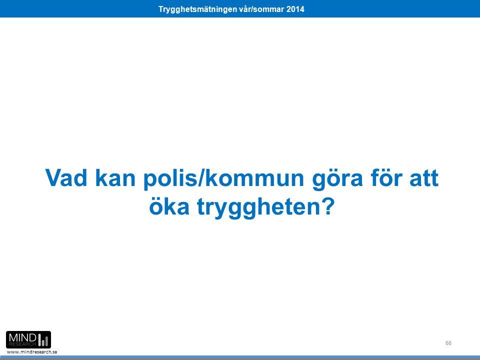 Trygghetsmätningen vår/sommar 2014 www.mindresearch.se Vad kan polis/kommun göra för att öka tryggheten? 66