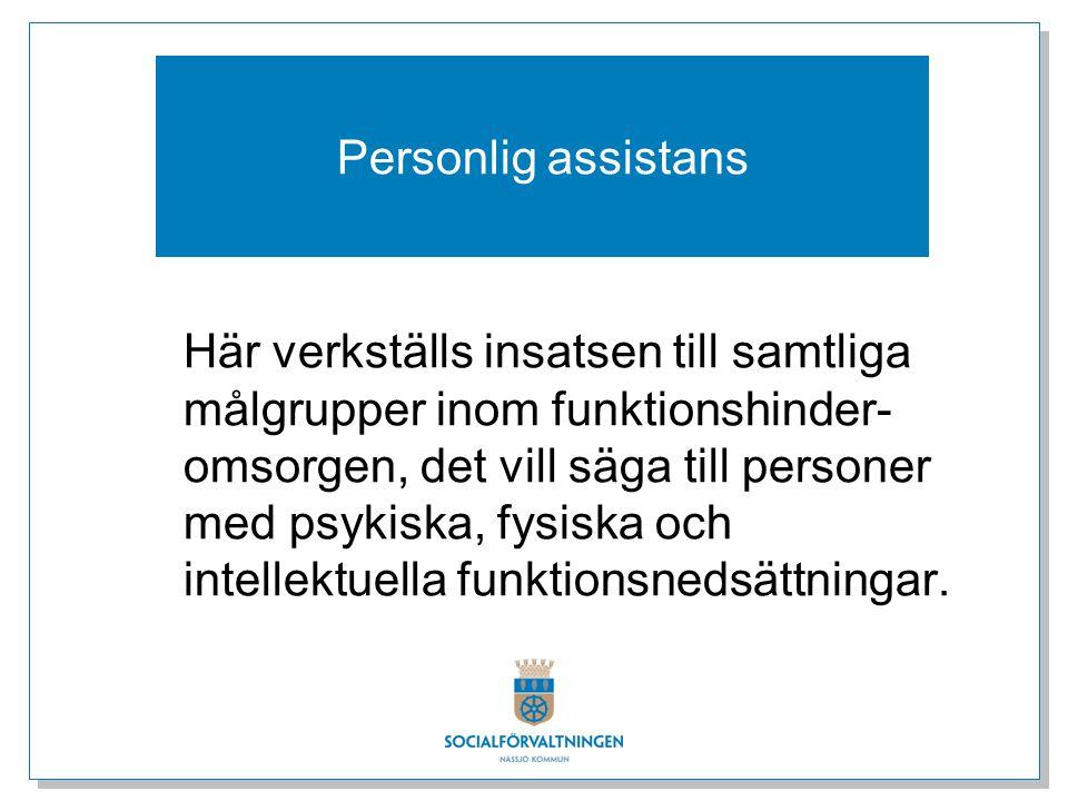 Personlig assistans Här verkställs insatsen till samtliga målgrupper inom funktionshinder- omsorgen, det vill säga till personer med psykiska, fysiska och intellektuella funktionsnedsättningar.
