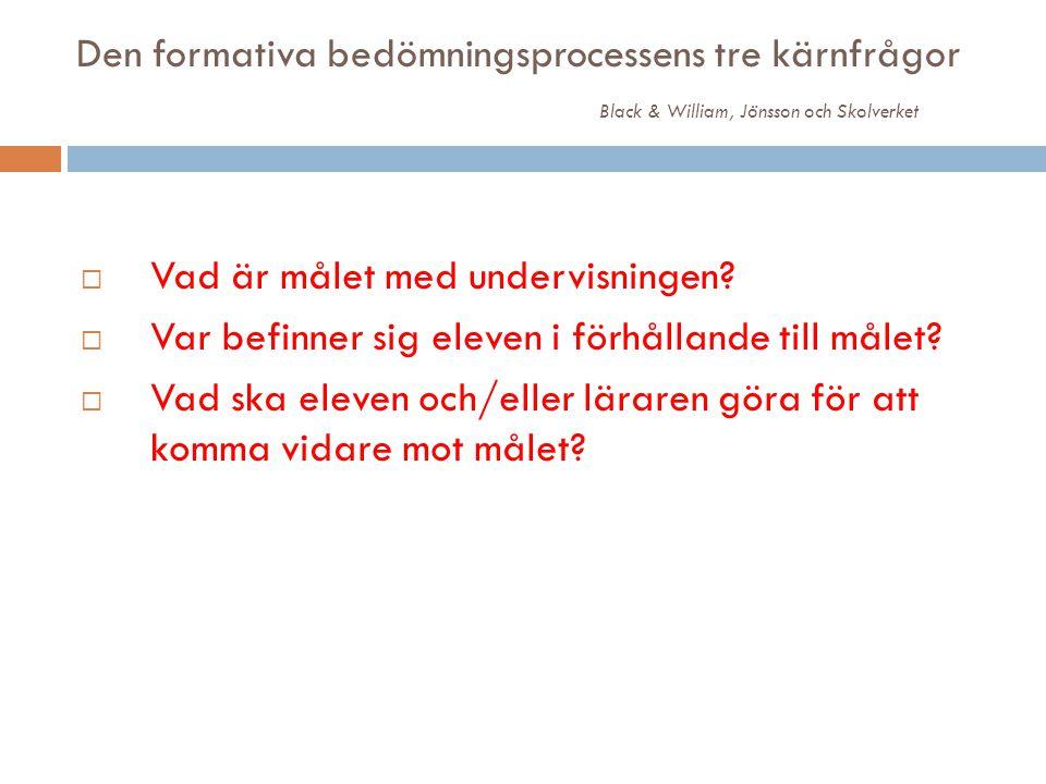 Den formativa bedömningsprocessens tre kärnfrågor Black & William, Jönsson och Skolverket  Vad är målet med undervisningen?  Var befinner sig eleven