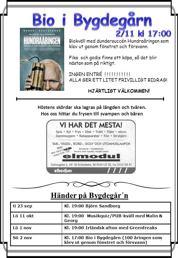 7 ti 23 sepKl. 19:00 Björn Sandborg Lö 11 oktKl.