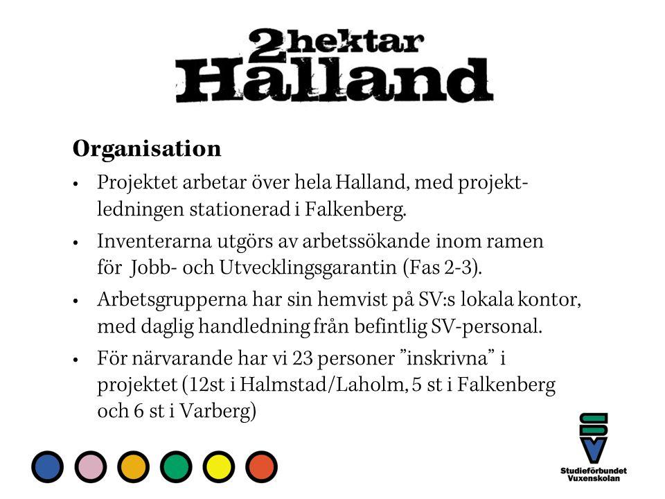 Organisation Projektet arbetar över hela Halland, med projekt- ledningen stationerad i Falkenberg.