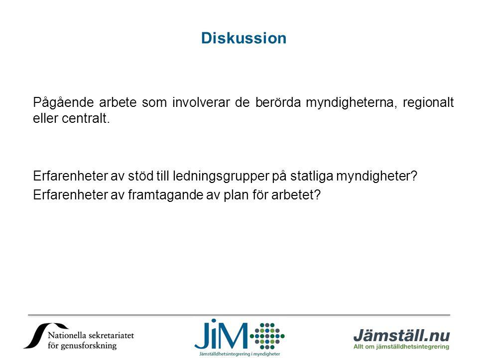 Diskussion Pågående arbete som involverar de berörda myndigheterna, regionalt eller centralt.