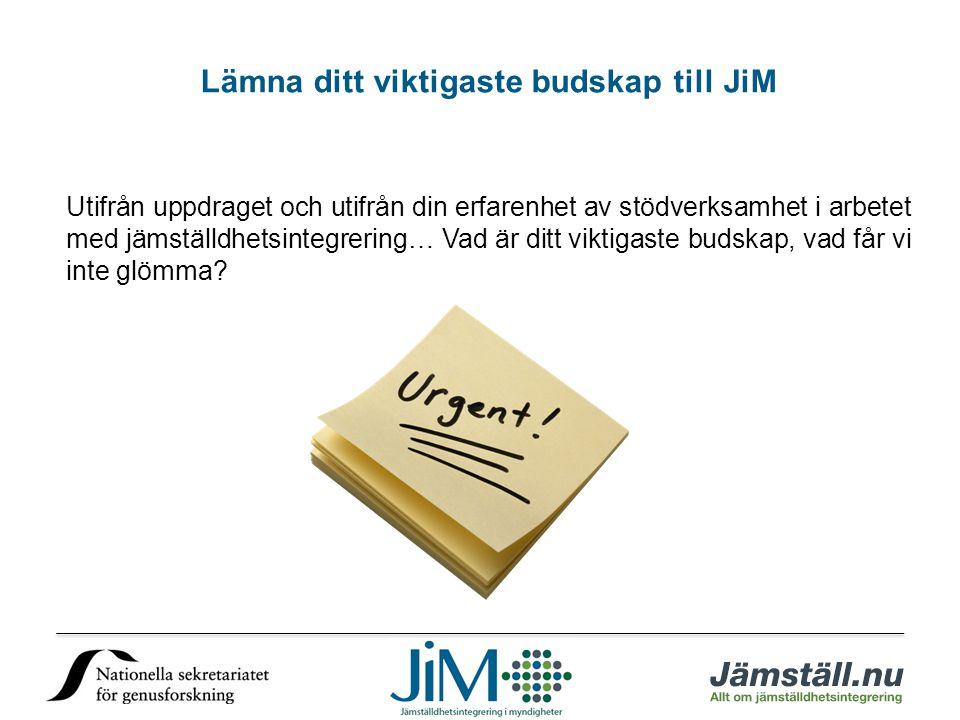 Lämna ditt viktigaste budskap till JiM Utifrån uppdraget och utifrån din erfarenhet av stödverksamhet i arbetet med jämställdhetsintegrering… Vad är ditt viktigaste budskap, vad får vi inte glömma