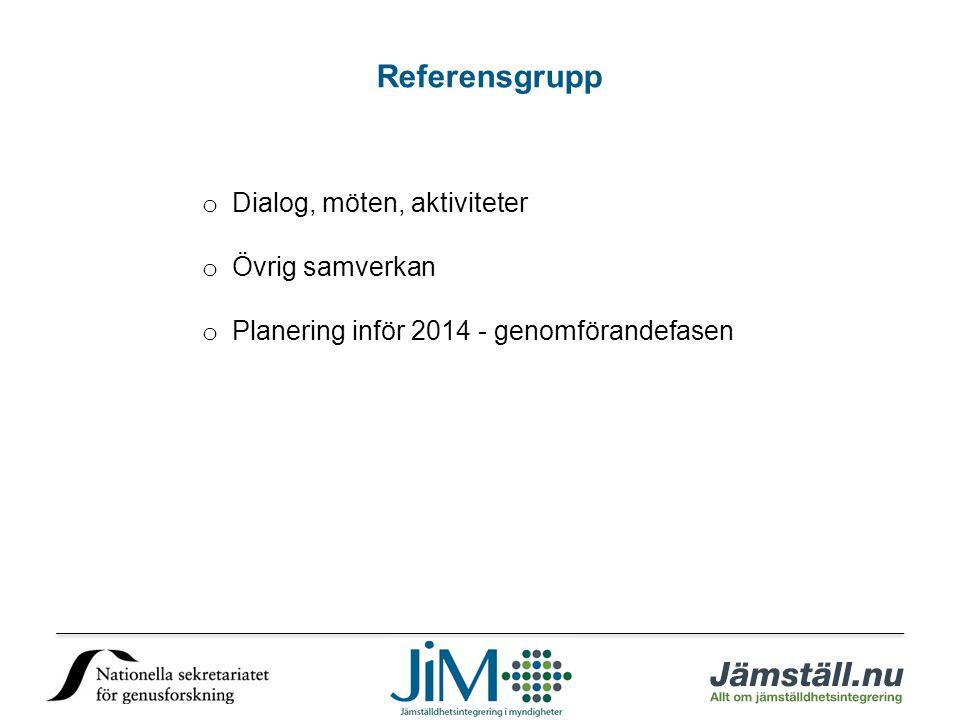 Referensgrupp o Dialog, möten, aktiviteter o Övrig samverkan o Planering inför 2014 - genomförandefasen