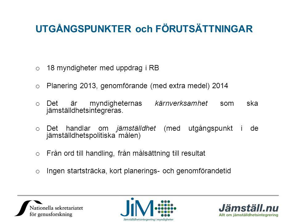o 18 myndigheter med uppdrag i RB o Planering 2013, genomförande (med extra medel) 2014 o Det är myndigheternas kärnverksamhet som ska jämställdhetsintegreras.