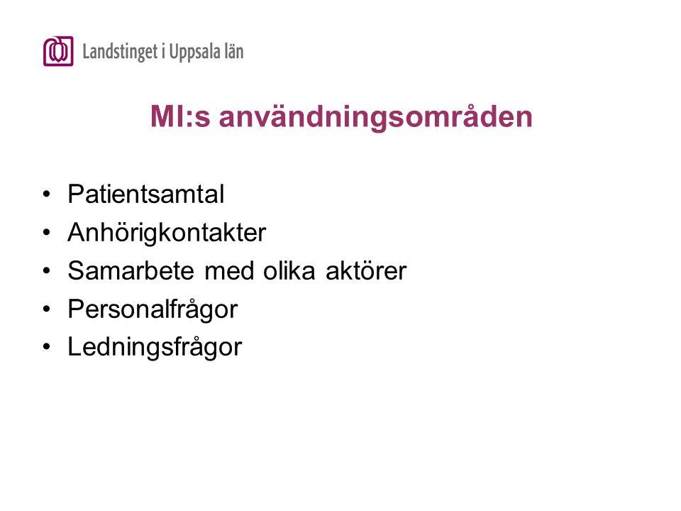 MI:s användningsområden Patientsamtal Anhörigkontakter Samarbete med olika aktörer Personalfrågor Ledningsfrågor