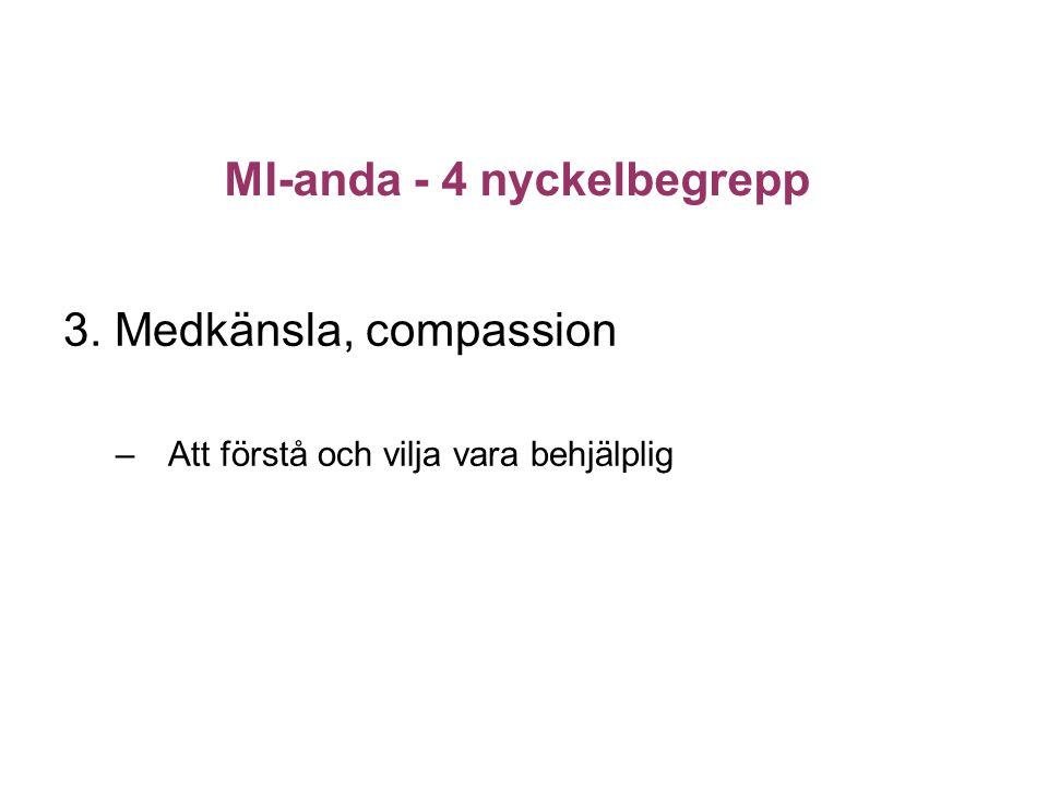 MI-anda - 4 nyckelbegrepp 3. Medkänsla, compassion –Att förstå och vilja vara behjälplig