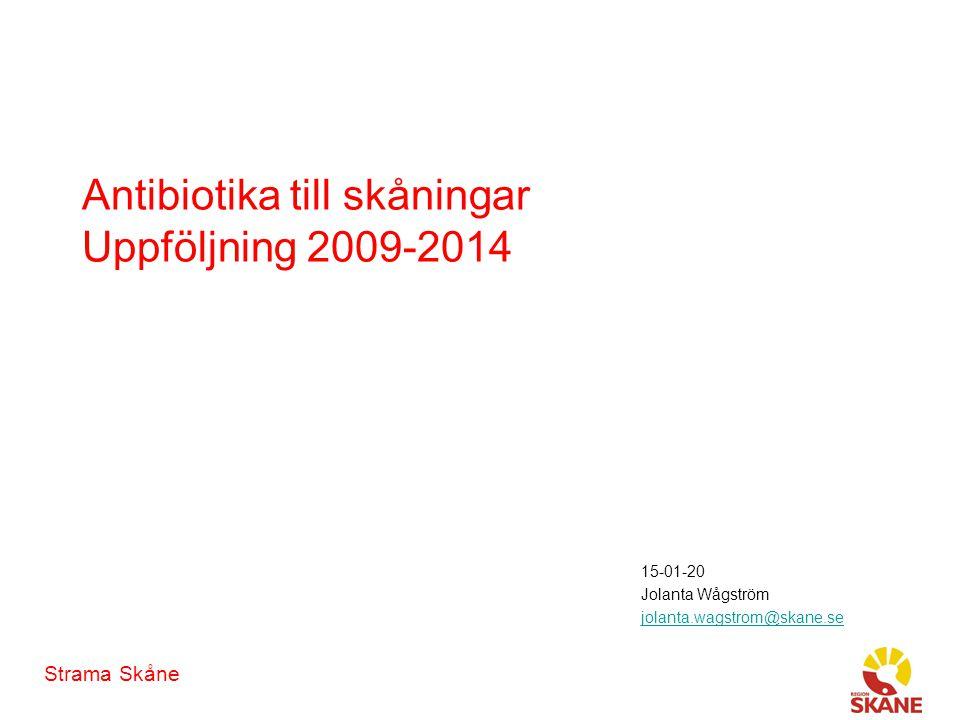 Strama Skåne Antibiotika till skåningar Uppföljning 2009-2014 15-01-20 Jolanta Wågström jolanta.wagstrom@skane.se