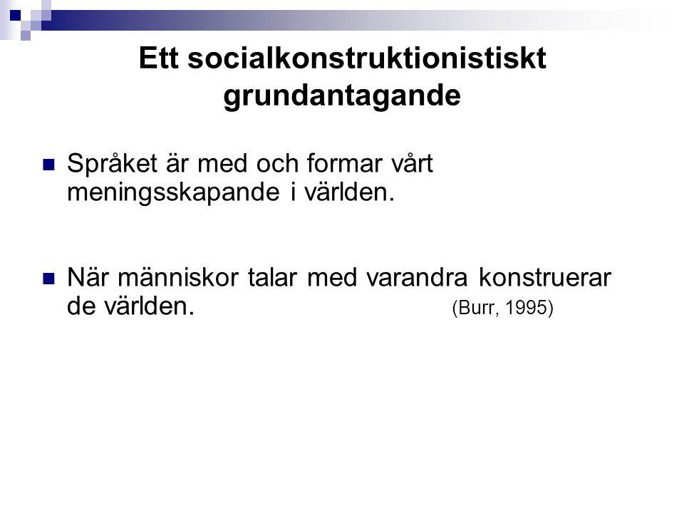 Ett socialkonstruktionistiskt grundantagande Språket är med och formar vårt meningsskapande i världen.