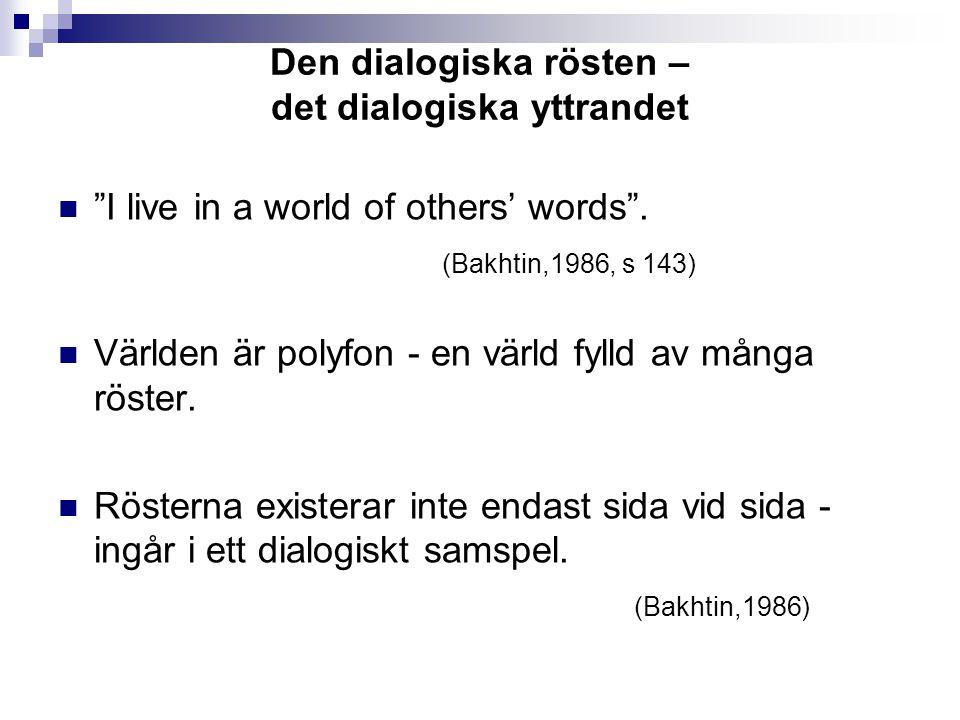 Den dialogiska rösten – det dialogiska yttrandet I live in a world of others' words .