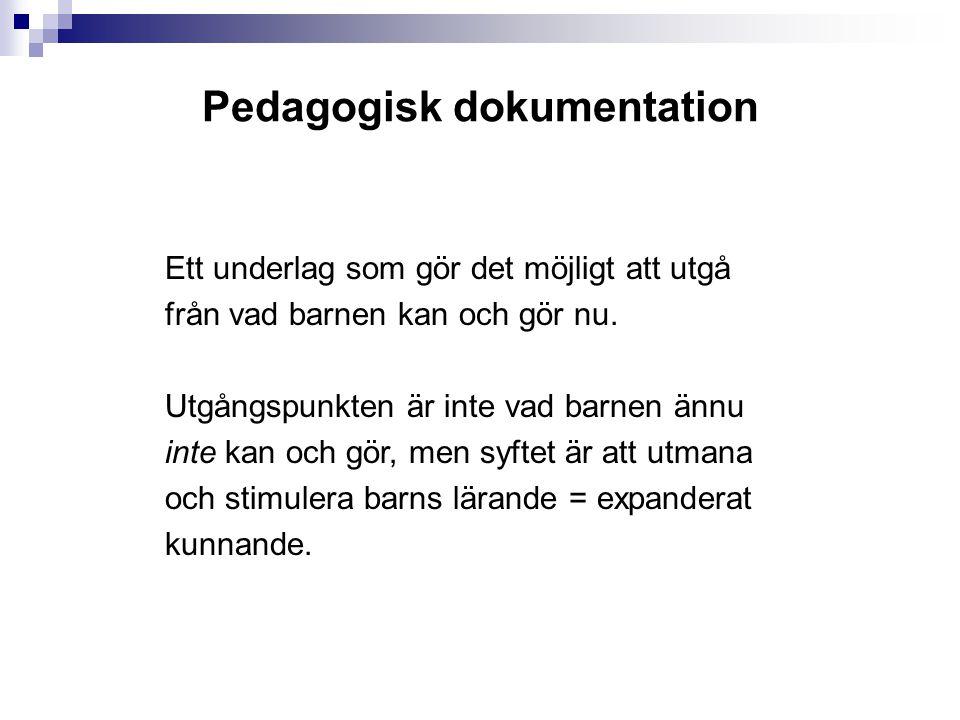 Pedagogisk dokumentation Ett underlag som gör det möjligt att utgå från vad barnen kan och gör nu.