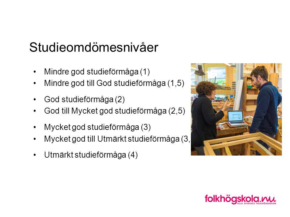 Studieomdömesnivåer Mindre god studieförmåga (1) Mindre god till God studieförmåga (1,5) God studieförmåga (2) God till Mycket god studieförmåga (2,5)